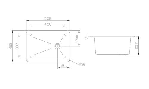 Polypropylene Sink 552x400