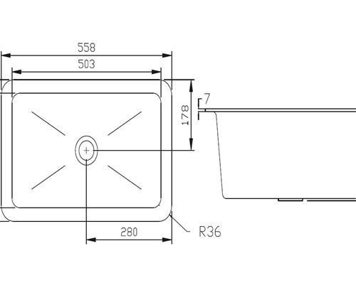 Polypropylene Sink 558x355