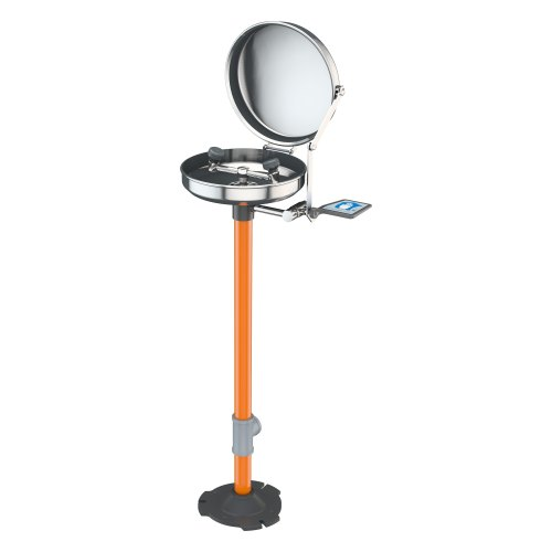 eyewash, pedestal mounted with stainless bowl and cover